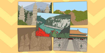 Chinese Landmark Craft Cards - chinese landmark, craft, cards