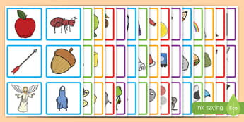 Initial Sound Picture Square Peg Labels - initial sound, picture, square, peg, labels, display