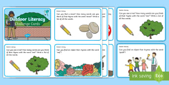 First Level Outdoor Literacy Challenge Cards - Literacy, Communication and Language, challenge, outside, outdoor learning, outdoor environment.