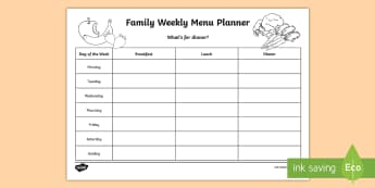 Family Weekly Menu Planning Template - Young People & Families Case File Recording, referral, chronology, contents page,buddy system, safeg