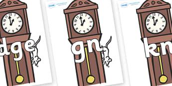 Silent Letters on Clocks - Silent Letters, silent letter, letter blend, consonant, consonants, digraph, trigraph, A-Z letters, literacy, alphabet, letters, alternative sounds