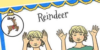 A4 British Sign Language Sign for Reindeer Left Handed - left