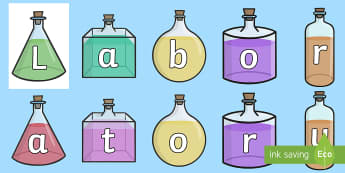 Laboratory On Science Bottles Display Cut Outs - chemistry, cut