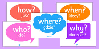 Question Words on Speech Bubbles Polish Translation - polish, question, words, speech, bubbles