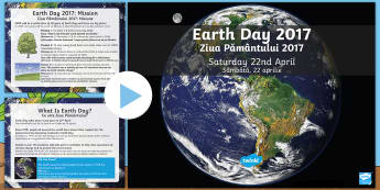 Earth Day Information PowerPoint English/Romanian - KS2 Earth Day (April 22nd), information, Geography, PHSE, environment, pollution, climate change, fo