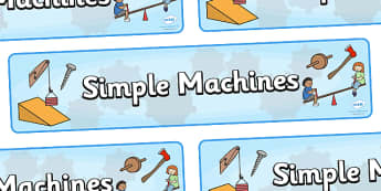 Simple Machines Display Banner - machines, simple, machine, lever, banner, display, poster, sign, inclined plane, pulley, wedge, wheel and axle, screw