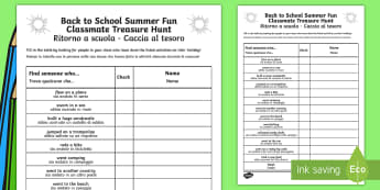 Back to School Summer Fun Classmate Scavenger Hunt English/Italian - Back to School Summer Fun Classmate Scavenger Hunt - scavenger, summertime, Timw, EAL