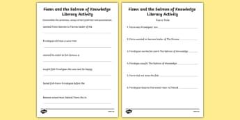 Fionn and the Salmon Of Knowledge Literacy Activity Sheets - Irish history, Irish story, Irish myth, Irish legends, Fionn and the Salmon of Knowledge, diary entries, writing, worksheet