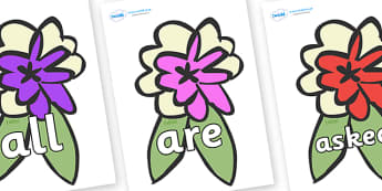 Tricky Words on Corsages - Tricky words, DfES Letters and Sounds, Letters and sounds, display, words