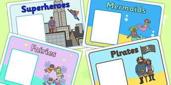 Editable Class Group Signs (Fantasy) - Woodland Animals, group signs, group labels, group table signs, table sign, teaching groups, class group, class groups, table label, fantasy, teddy bear, mermaid, fairy, pirates