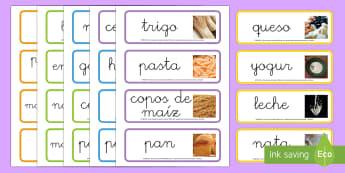 Los grupos alimenticios Tarjetas de vocabulario