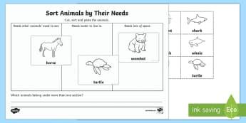 Sort Animals By Their Needs Activity Sheet-Australia - Australian Curriculum Biological sciences, animals need, wants and need, sorting by need, Australian