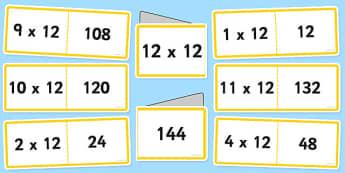 12 Times Table Cards - multiplication, twelve, visual, numeracy, times table, times tables