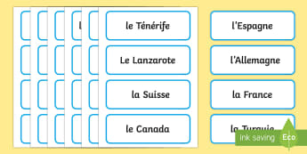 Countries of the World French Word Cards - geography, countries, world, words cards, french, france, farnce, french, country, countiers