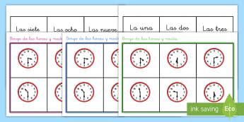 Bingo: La hora - Y media - bingo, la hora, y media, juego, horas, reloj, relojes, tiempo, analógico, analógicos, ,Spanish