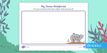 My Javan Rainforest Picture Activity Sheet - Ronald the Rhino, KS1, EYFS, Geography, Habitat, Rainforests, worksheet