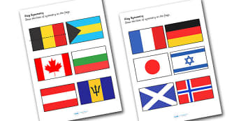 Flag Symmetry Worksheets - flag, flags, symmetry, worksheets, flag worksheets, symmetry worksheets, numeracy, maths, numeracy worksheets, maths worksheets