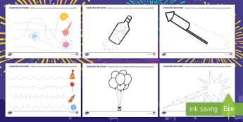 Controllo del tratto di Capodanno Attività - nuovo, anno, tratto, scrivere, motricità, materiale, scolastico, italiano, italian