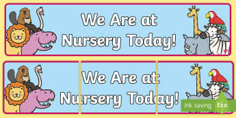 Self Registration Banner Animals Nursery - we are at nursery today banner, nursery banner, nursery display banner, nursery self registration banner