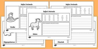 Safari Animal Description Writing Frames - safari, safari description writing frames, safari description worksheets, safari animal descriptions