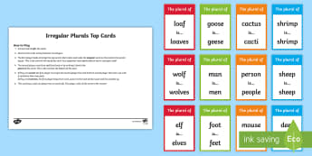 Irregular Plural Nouns Top Cards Game - Singular, Plurals, Grammar, Vocabulary, Spelling, irregular plurals activity sheets