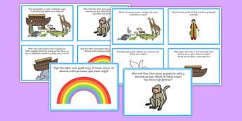 Noahs Ark Role Play Challenge Cards Welsh - Arch, Noa, cardiau, cwestiynau