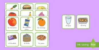 Tarjetas de clasificar: La comida saludable y no saludable - comida, clasificar, comida saludale, sano, sana, salud, saludable, grasa, proteina, carbohidratos, j