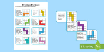 Directions Dominoes - Mathematics, Year 1, Measurement and Geometry, Location and transformation, ACMMG023, direction, lef