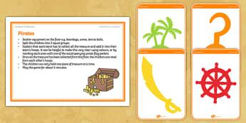 Foundation PE (Reception) Pirates Warm-Up Activity Card - physical activity, foundation stage, physical development, games, dance, gymnastics