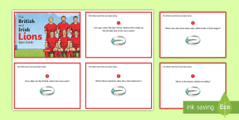 The British and Irish Lions Tour 2017 Quiz Cards - NI - The Lion\'s Tour rugby British Irish New Zealand home nation squad captain coach match capped