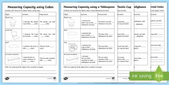 Measuring Capacity Using Informal Units Activity Sheets - Mathematics, Year 2, Year 1, Geometry, measurement, comparing capacity, classroom objects.,Australia