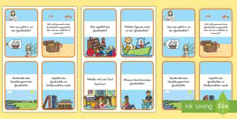 Leseverstehen : DIN A4 Karteikarten - Lesen, Buch, Bücher, Text, Verständnis, Druckschrift, Schreibschrift, ,German
