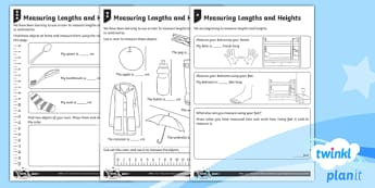 Measure and Record Length and Height Home Learning Tasks - Measurement, measuring, home learning, homework, measure and record, length and height, non-standard