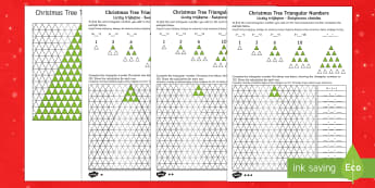 Christmas Tree Triangular Numbers Differentiated Maths Activity English/Polish  - Christmas N.I. triangular numbers, sequences, patterns, number sequence, number relationships, trian