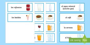 Drinks Word Cards Spanish  - Spanish, Vocabulary, drinks, word, cards, food