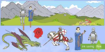 Fondo de juego simbólico: San Jorge y el dragón - San Jorge, sant jordi, leyenda, leyendas, cuentos, cuentos tradicionales, Saint george spanish, jorg