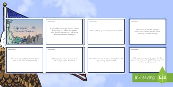 September 11th Discussion Question Cards - Patriot Day, September 11th, World Trade Center, discussion questions, writing prompts, conversation