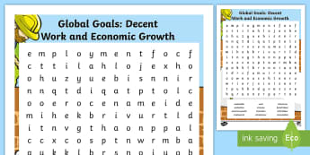 Global Goals Decent Work and Economic Growth Word Search - Learning For Sustainability, UNICEF, GG7, jobs, enterprise, workers rights,Scottish