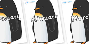Months of the Year on Penguin to Support Teaching on Lost and Found - Months of the Year, Months poster, Months display, display, poster, frieze, Months, month, January, February, March, April, May, June, July, August, September