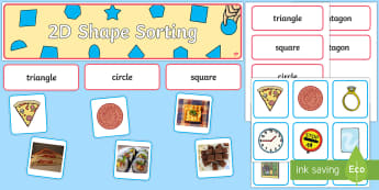 2D Shape Sorting Interactive Display Pack - ks1, eyfs, shapes, 2d shapes, naming shapes, sorting shapes, circle, triangle, hexagon, rectangle, s