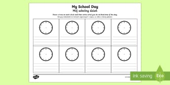 My School Day Activity Sheet English/Polish - timetable, daily routine, transition, rountines, bump up day,Polish-translation