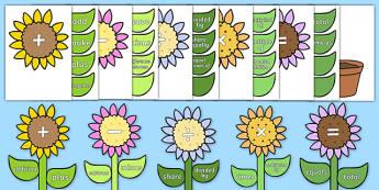 Maths Vocabulary Flower Display Pack - maths, vocabulary, flower, display
