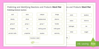 OCR Gateway Chemistry Predicting and Identifying Reactions and Products Word Mat - Word Mat, gcse, keywords, Predicting chemical reactions, Identifying the products of chemical reacti