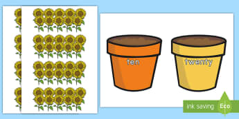 Making Bundles of 10 with Flowers Activity - flower, flower pot, place value, tens, ones, bundle, regroup, tens and ones