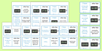 24 Hour Times Loop Cards Activity - 24 hour, times, time, loop card, activity, time, different, cards, flashcards, loop, image, what time is it