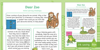 Dear Zoo Home Learning Challenges Nursery FS1 - Dear Zoo, Rod Campbell, animals, letter to the zoo, homework, home learning, home school, parents, t