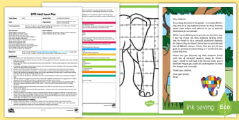 EYFS A Patchwork Elephant Adult Input Plan and Resource Pack - EYFS, Early Years planning, Elmer, David McKee, colour, teamwork, group display, PSED, Personal, Soc