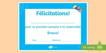 Diplômes: Première semaine  - Maternelle, rentrée, récompense, école, félicitations,French
