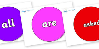 Tricky Words on Circles - Tricky words, DfES Letters and Sounds, Letters and sounds, display, words