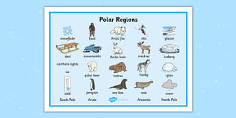 Polar Regions Word Mat - Polar Regions Word Mat, Polar Regions, polar region, region, polar, word mat, mat, writing aid, ice, North Pole, South Pole, Arctic, Antarctic, polar bear, penguin, glacier, iceberg, seal, husky, northern lights, igloo, Inuit